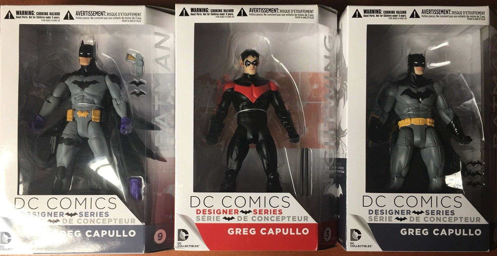 DC COLLECTIBLES GREG CAPULLO DESIGNER SERIES BATMAN FIGURE  1 &  9 + NIGHTWING