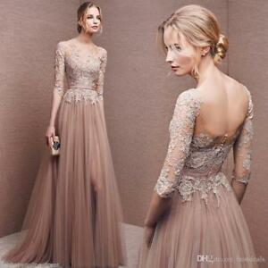 Long-Evening-Formal-Party-Dress-Prom-Ball-Gown-Bridesmaid-Applique-New