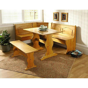 Essential Home Breakfast Kitchen Solid Wood Corner Dining Set Table Bench  Chair Booth 753793870014