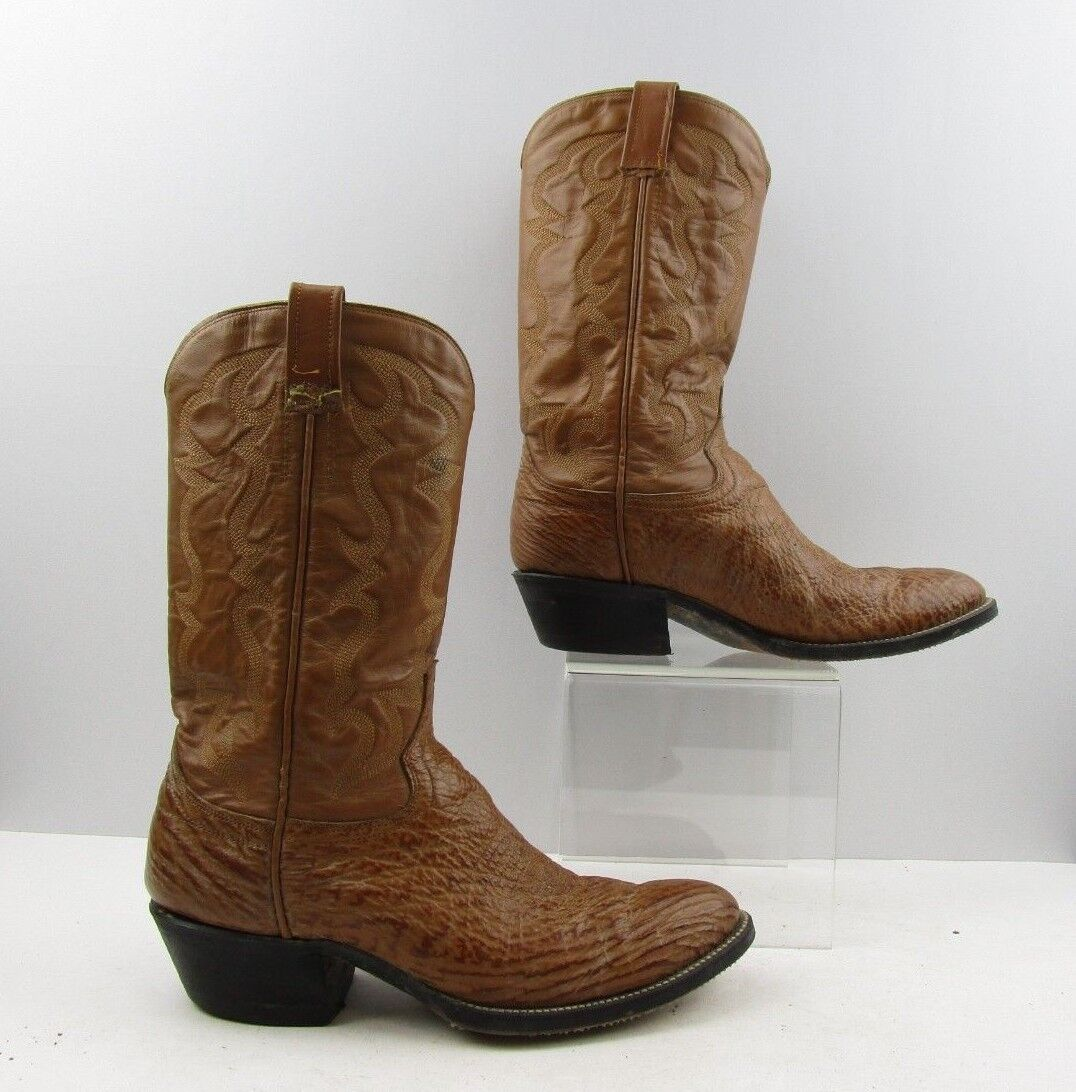 Men's Exotic Brown Leather Round Toe Cowboy Western Boots Size  9.5 D