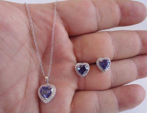 925 Argent Sterling Collier Pendentif /& Boucle D/'Oreille Set W//9.50 Carat Diamant//Tanzanite