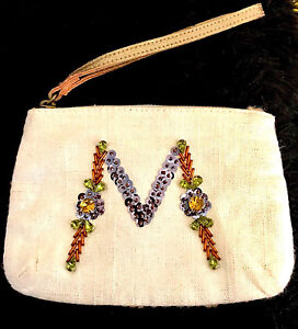 NEW-ANTHROPOLOGIE-M-INITIAL-IVORY-MULTI-SEQUIN-WRISTLET-HANDBAG-CLUTCH-POUCH-BAG