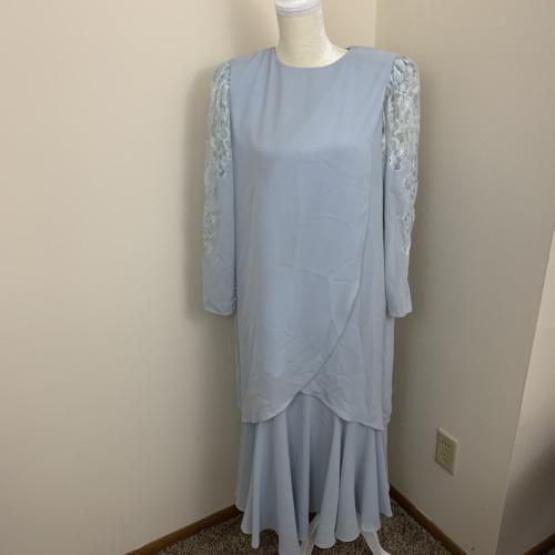 womens 12 Ursula vtg long sleeve evening dress blu