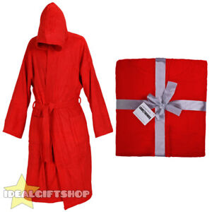 Details about RED HOODED BATHROBE 100% COTTON ADULT ROBE MENS LADIES  DRESSING GOWN TOWEL M-5XL d5d457af4