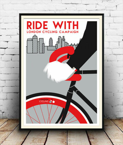 Wall art. Reproduction Cycling event advertising poster Ride With