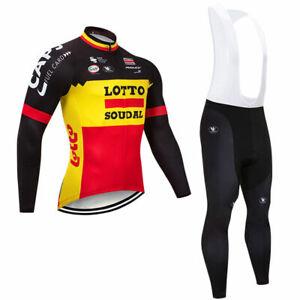 YQ453 Mens Team Mtb Cycling Winter Thermal Fleece long sleeve jersey Bib Pants