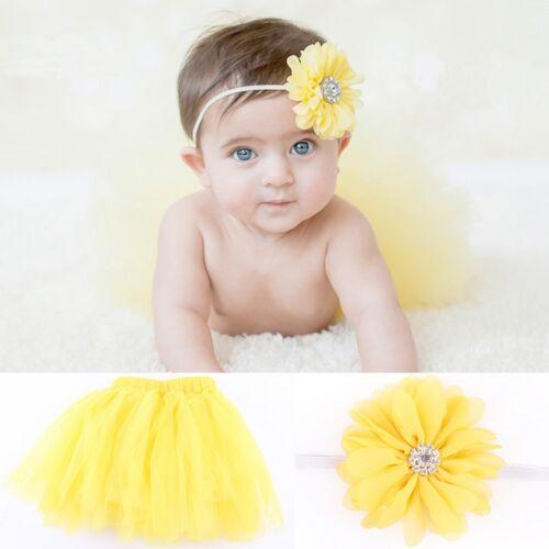Säugling Baby Set Haarband mit Blume Stirnband Tutu Rock Kostüm Mädch/_2018 V8Y3