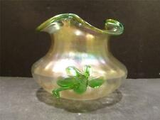 Bohemian Kralik Vase With Ruffled Rim And Green Glass Applied Flowers - MINT
