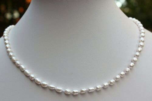 A24 45cm Echt Süßwasser Perlen Schmuck Perlenkette Halskette Kette Collier
