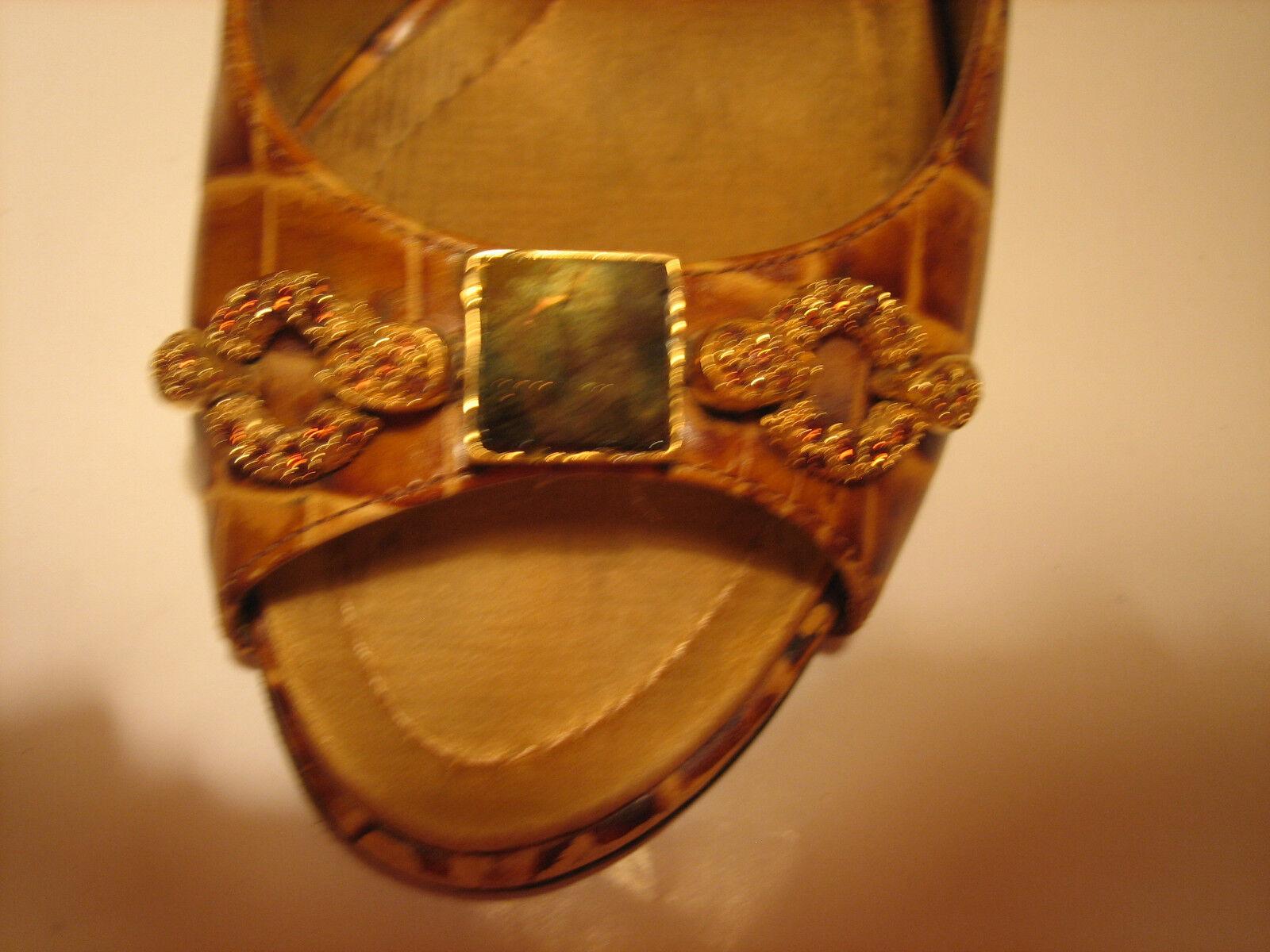 Giuseppe Zanotti - Leather Snake Skin Skin Skin Open Toe  with crystals size 6.5 519d42
