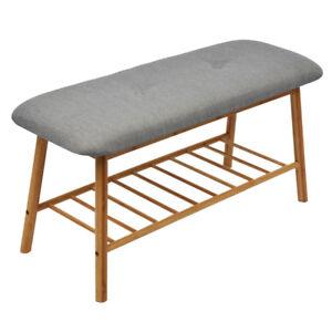 Sitzbank-mit-Schuhablage-Schuhbank-Schuhregal-Schuhschrank-Flur-Sitzkissen-Holz