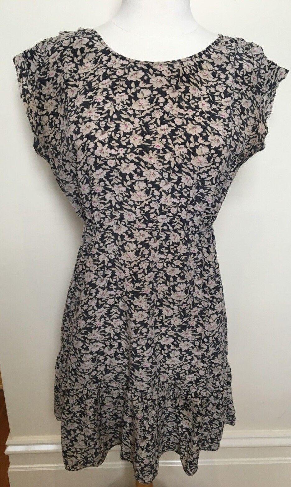 KACHEL Designer Beige Flower Print Silk Cap Sleeve Elastic Waist Tea Dress 6