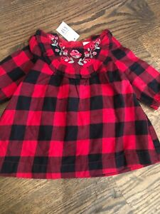 GAP Baby Toddler Girl Size 18-24 Months NWT Pink Blue Plaid Flannel Dress