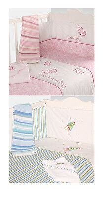 Baby 2 Piece Cot Bedding Quilt /& Bumper Bale Set Pink Butterfly//Blue Rocket
