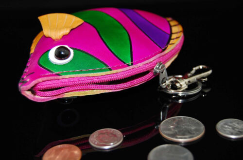 Genuine Leather Zip Coin Purse Handmade Tropical Fish Keychain Wallet Cardholder