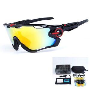 New-5-Pair-Lens-Polarized-UV400-Cycling-Bicycle-Sunglasses-Jawbreaker-Goggles