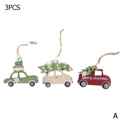 Christmas Ornaments Santa Claus Snowman Tree Wood Decor Pendant Xmas 2 N3C3