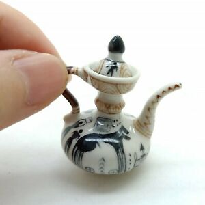 Teapot Dollhouse Miniature Ceramic Chinese Porcelain Painted TP018