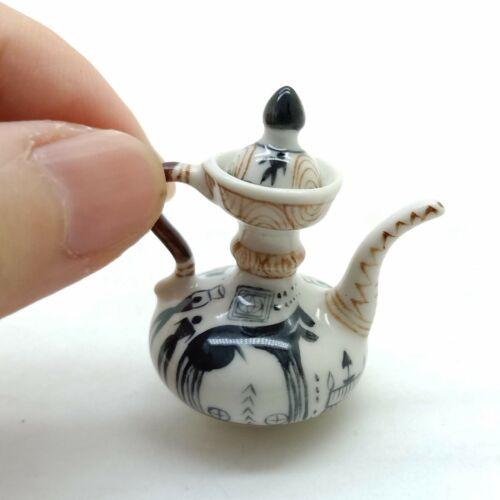 Teapot Dollhouse Miniature Ceramic Chinese Porcelain Painted TP001