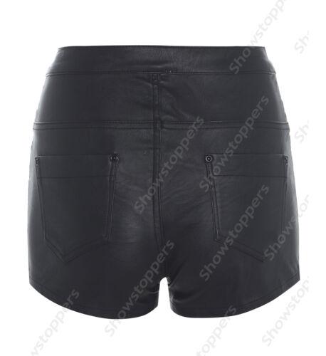 NEU Kunstleder Damen PU Shorts Damen Kunstleder Hotpants Shorts 8 10 12 14