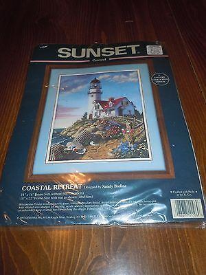 Sunset Crewel Embroidery Kit 11106 Coastal Retreat Sandy Bodine Lighthouse NIP