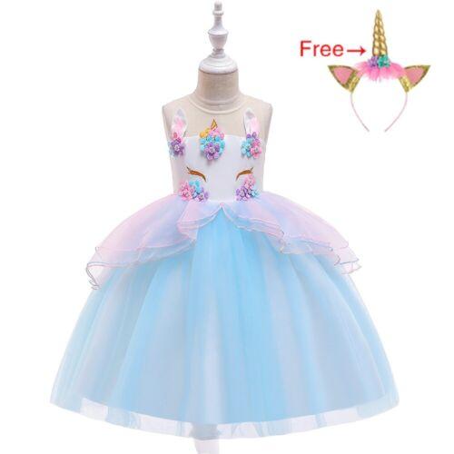 Childrens Girls Princess Unicorn Flower Tulle Tutu Dress Ball Gown w Headband ZG