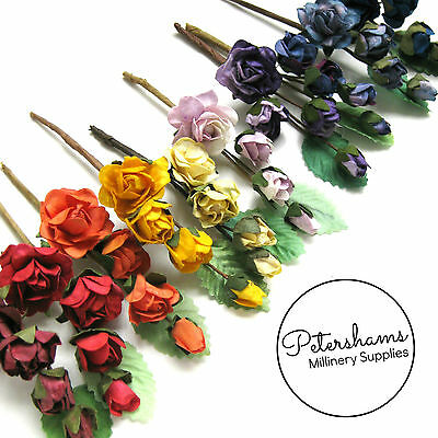 3 Stems Wired Miniature Paper Flowers and Leaves Picks for Wedding Craft