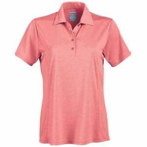 Page & Tuttle Solid Heather Polo Casual Golf Tops - Pink - Womens