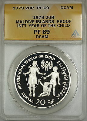 Well-Educated 1979 Year Of The Child Proof Maldive Islands 20r Silver Coin Anacs Pf-69 Dcam Luxuriant In Design