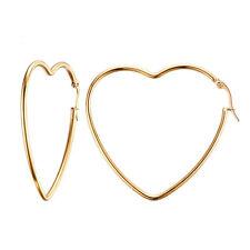 18K Gold Plated Stainless Steel Big Heart Shaped Hoop Earrings Women's Jewellery