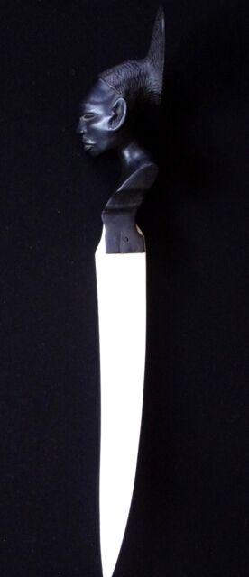 Ancien coupe papier ébene visage afrique 1930 africain 45cm african paper cutter