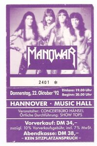 Manowar in Concert 1992 Ticket/Concert Card/Ticket