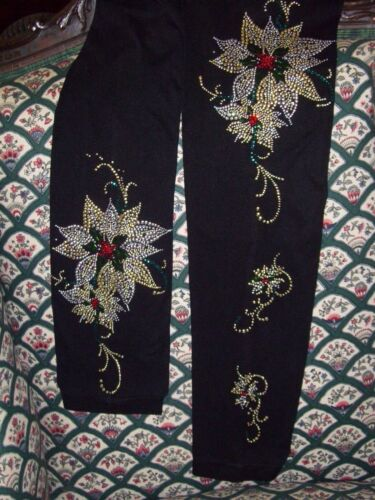 PLUS 2X Hand Embellished Christmas Gold Silver Fancy Poinsettia Long Top Shirt