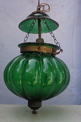 Antique Colonial Green Glass Hall Lantern Chandelier Lamp Pendant Light