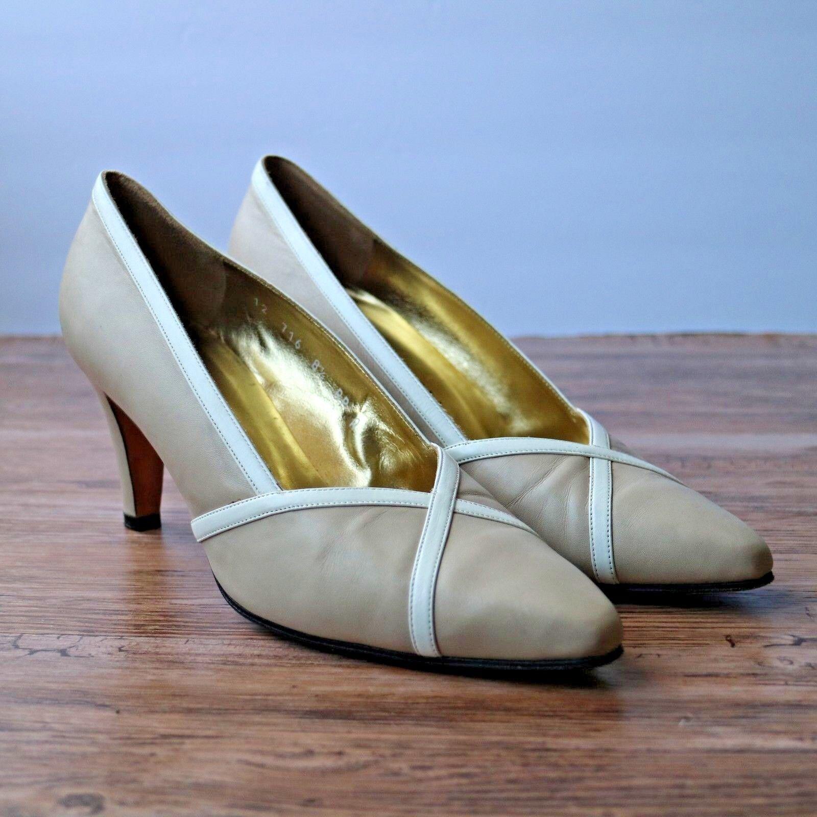 St Johns femmes Taupe Beige blanc Suede Point Toe Slip On Pumps Heels Sz 8.5