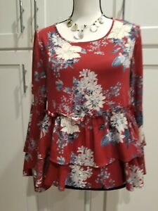 Altard-State-Women-Tunic-Top-Blouse-Long-Bell-Sleeve-Scoop-Neck-Floral-Boho-SzS