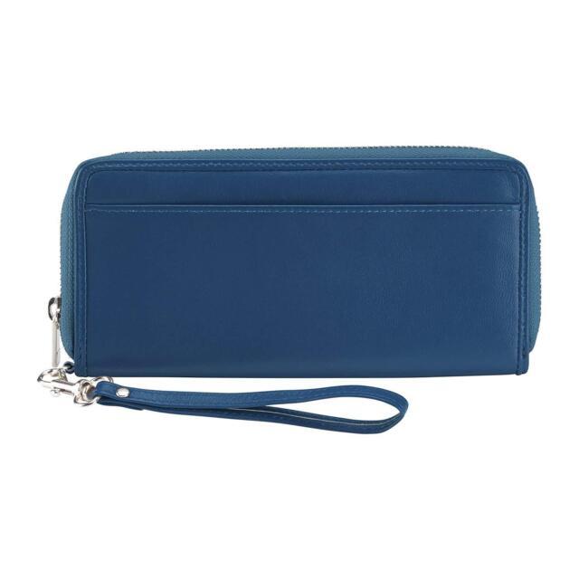 NEW LEWIS N CLARK LEATHER RFID BLOCKING LARGE ZIP CLUTCH WRISTLET WALLET BLUE
