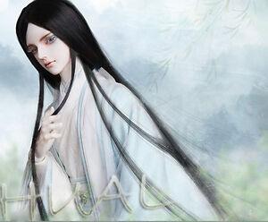 "6-7/"" 1//6 BJD Black Straight Long Ancient Wig LUTS Doll SD DZ DOD MSD Soom Hair L"