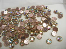 72 swarovski gold rim hot fix flatbacks,34ss crystal AB/foiled #2039