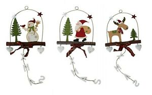 Christmas-Hanging-Ornament-Reindeer-Santa-XMAS-Wall-Door-Decoration-16x39cm