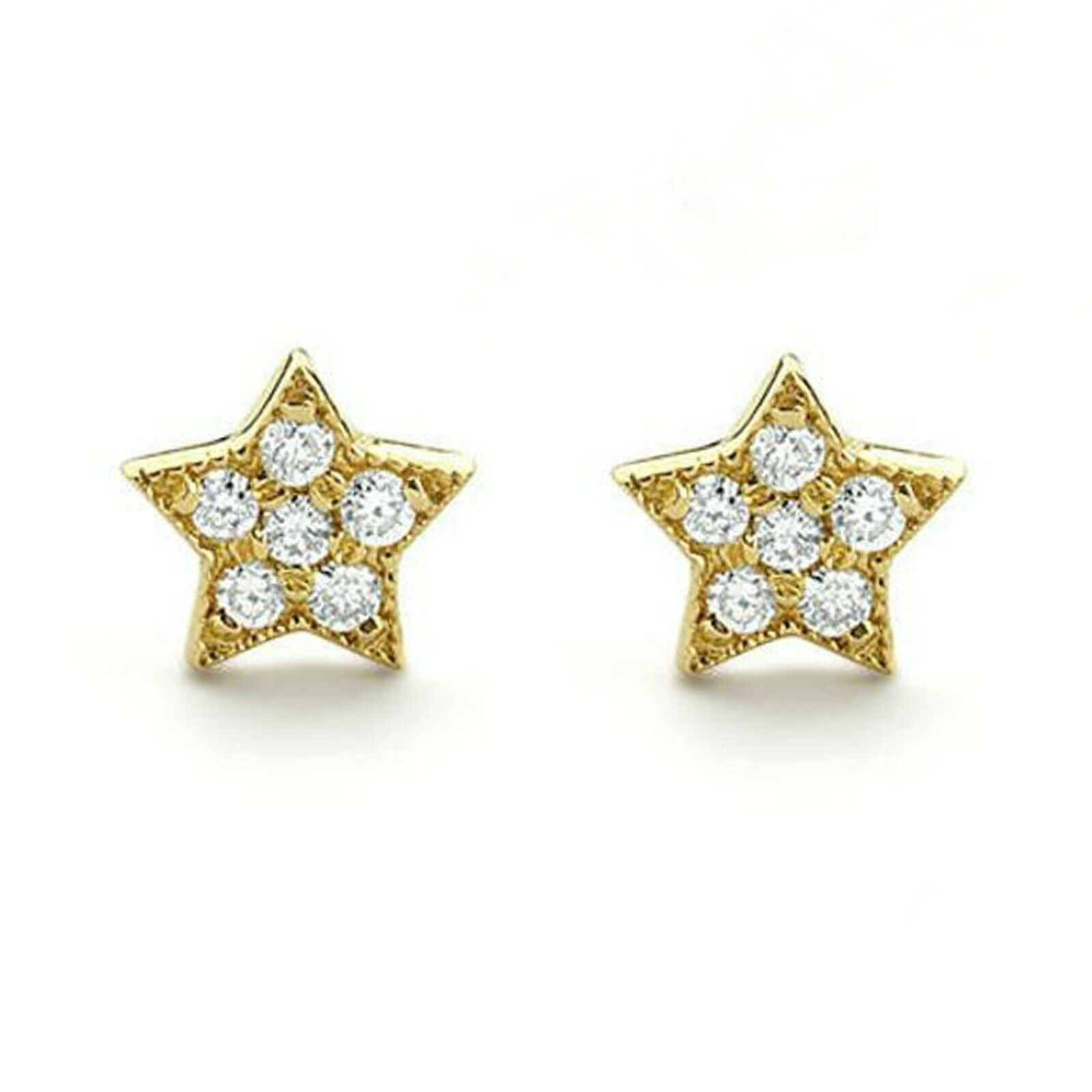 0.10 Ct Round Cut Diamond Tiny Star Stud Earrings In 14K Yellow gold Over
