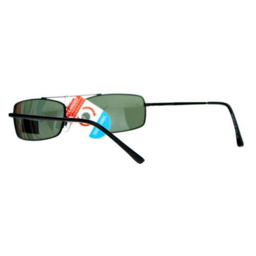 Mens Polarized Sunglasses Thin Lite Metal Frame Spring Hinge Comfort Eyewear