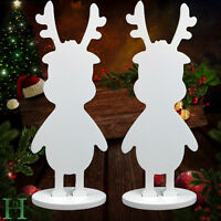 2pcs MDF Free standing Rudolph Reindeer Xmas Decoration Christmas Wooden Rudolph