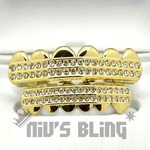 14K Gold Iced Out GRILLZ CZ Icy Premium Tooth Mouth Teeth Hip Hop Bling Grill