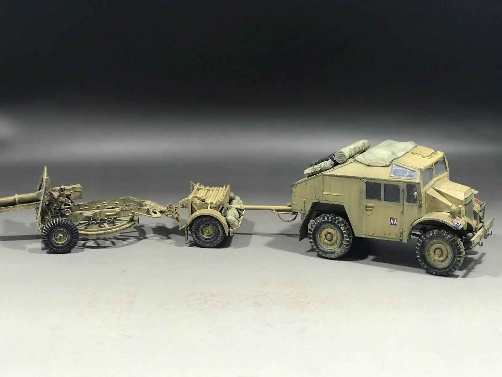 1 35 Built British Quad Gun tractor & 25pdr. Field Gun w ammo trailer
