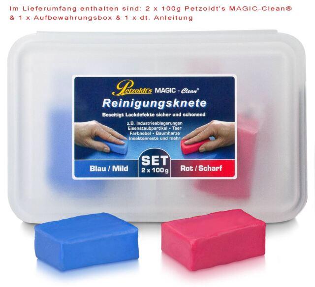 2x 100 Gramm Petzoldt's Profi-Reinigungsknete MAGIC-Clean, Blau & Rot, Lackknete