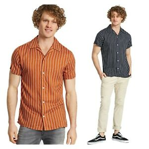 Jack-amp-Jones-De-Hombre-Casual-Cuello-Clasico-regular-FIT-camisas-de-manga-corta-a-rayas