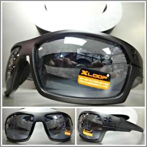 WRAP AROUND Motorcycle Riding Driving Fishing SUN GLASSES Black Frame Dark Lens