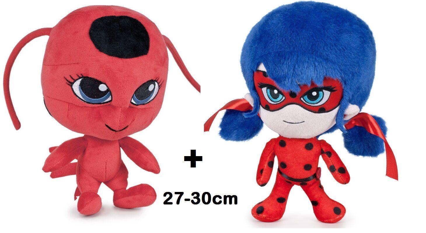 2 x Morbido Peluche Ladybug + Tikki Coccinella Miraculous 27-30cm da 0+ bambola