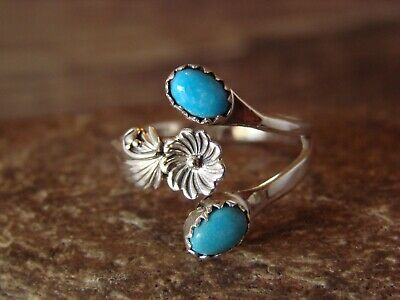 Native American Indian Jewelry Sterling Silver Turquoise Adjustable Ring Pino